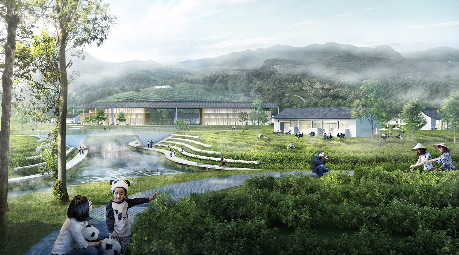 Outside, agricultural fields provide locally grown produce and regionally specific ingredients for the restaurants within the Reserve. SASAKI}