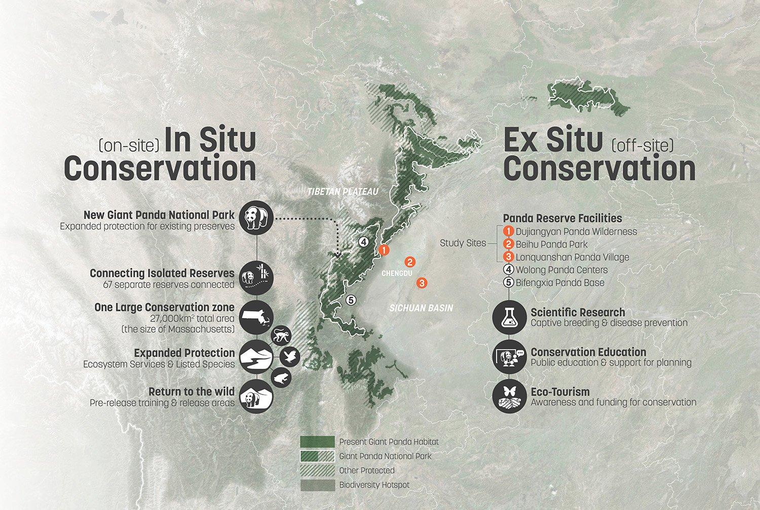 The Reserve's research, education, and eco-tourism programming supports China's new Giant Panda National Park, which connects over sixty previously isolated habitat preservation areas. SASAKI