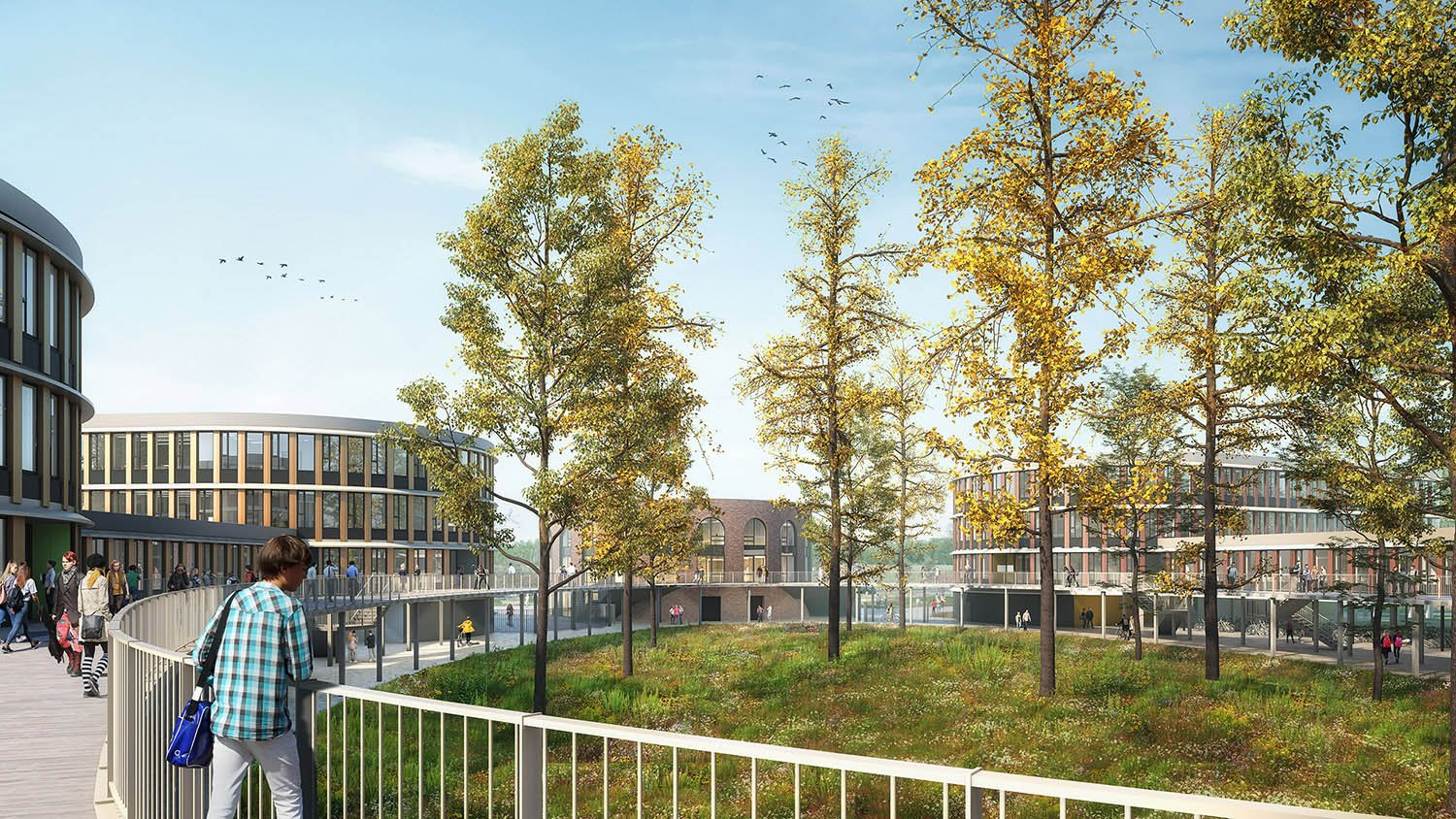 Campus Lelystad exists of several buildings around a green central zonewith a pedestrian zone on the ground floor © Kraaijvanger Architects