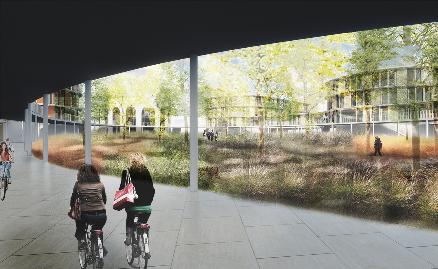 Campus Lelystad exists of several buildings around a green central zone with a bicycle zone on the ground floor © Kraaijvanger Architects
