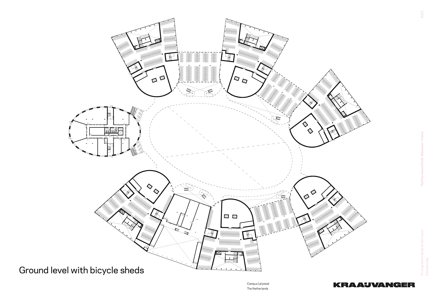 Ground level with bicycle sheds © Kraaijvanger Architects}