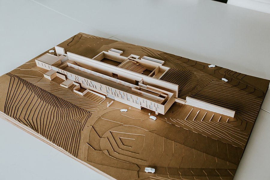 Aerial view presentation model with roof removed Dake Wells Architecture: Ally Jepsen}