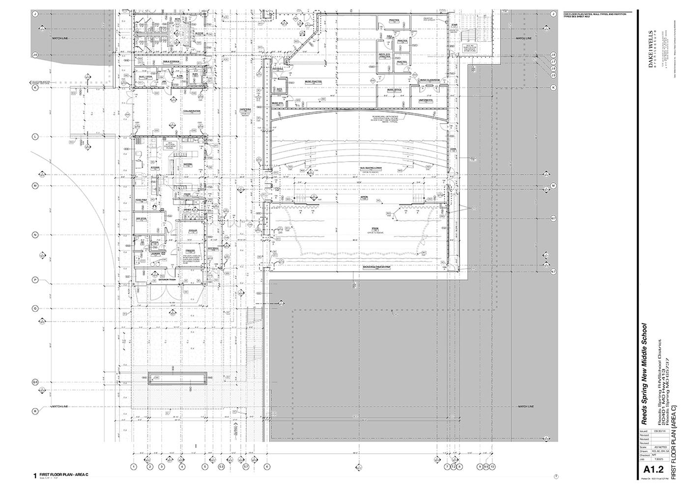 Partial first floor plan Dake Wells Architecture}