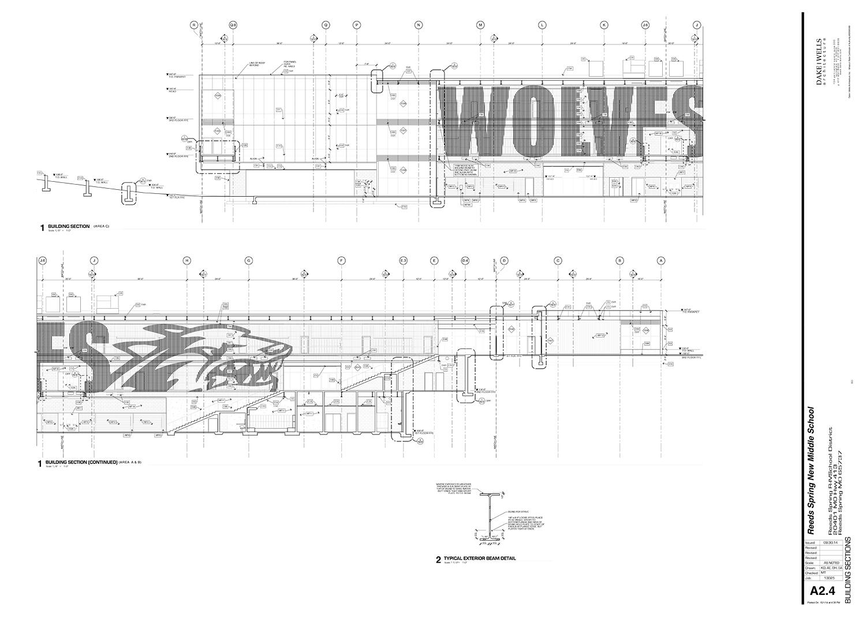 Longitudinal building section through atrium Dake Wells Architecture}