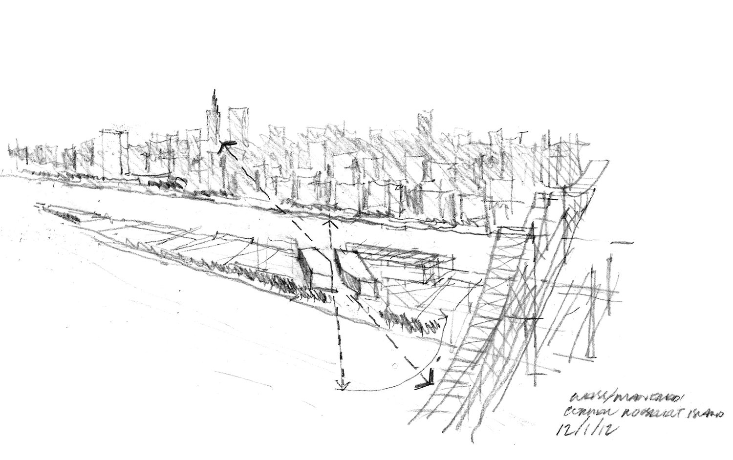 RIVER-TO-RIVER VIEWS CONCEPT SKETCH WEISS/MANFREDI}