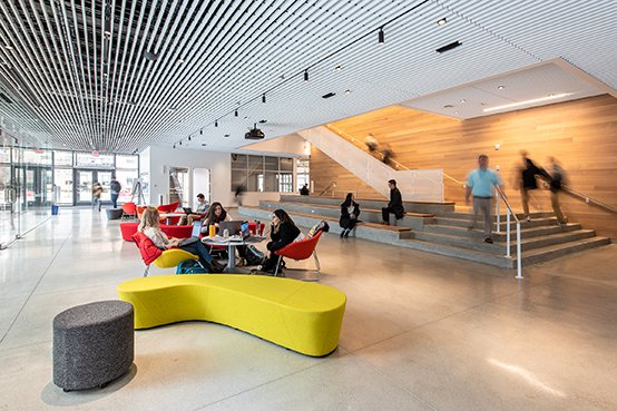 First floor lobby with flexible seating Langer Hsu