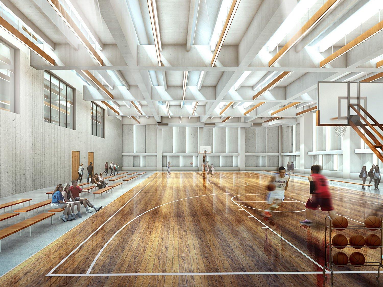 Basketbal court Rendering © RSAA/ Büro Ziyu Zhuang}