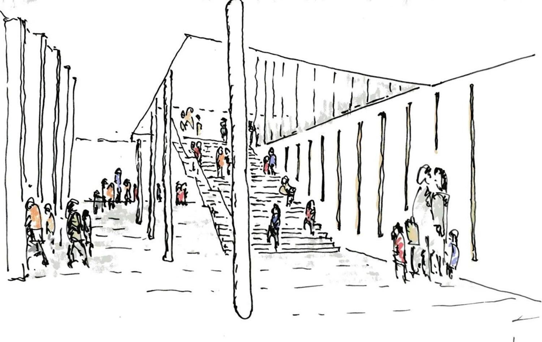 The sketch of entrance hall © RSAA/ Büro Ziyu Zhuang}