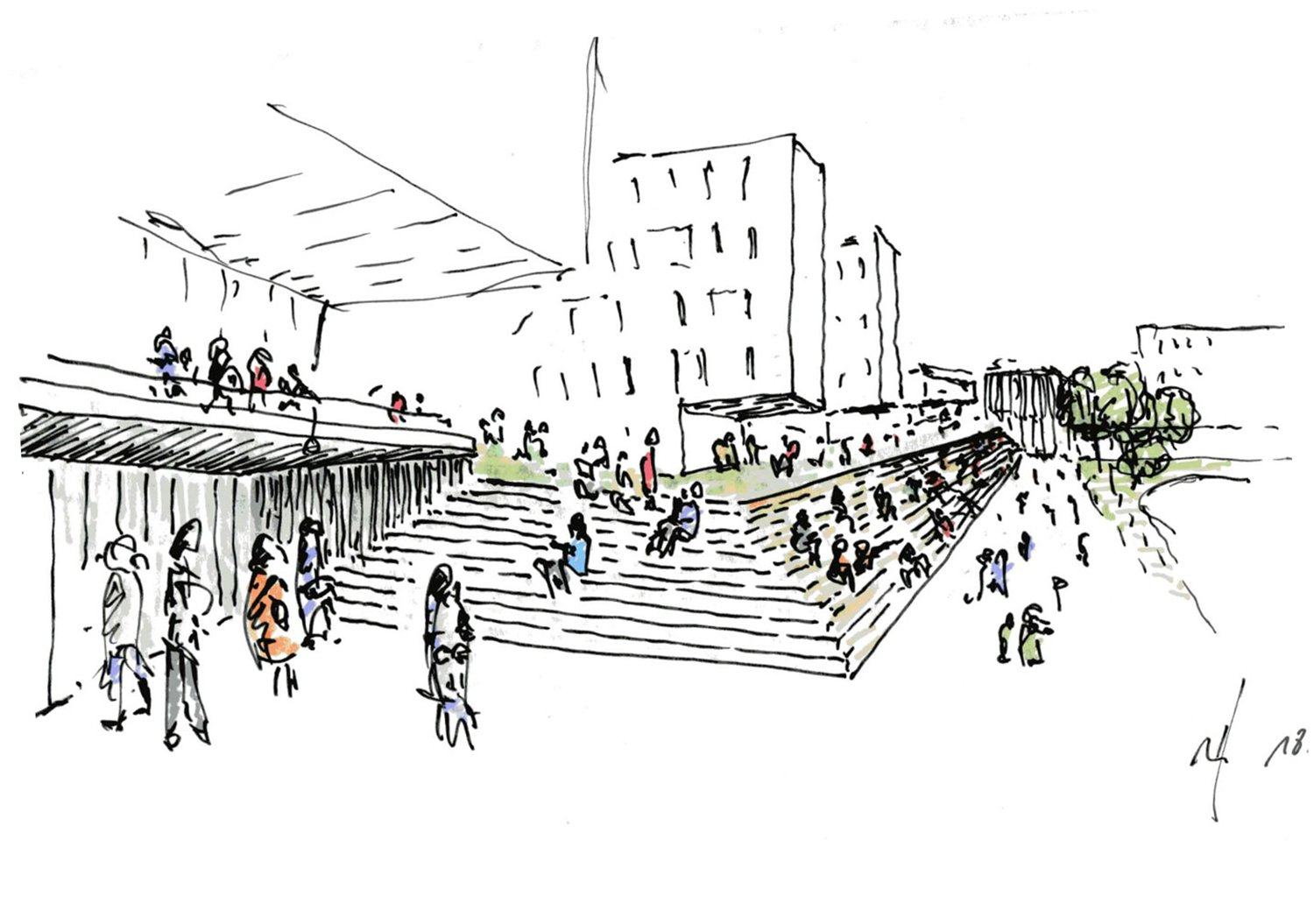 The sketch of the playground stand © RSAA/ Büro Ziyu Zhuang}