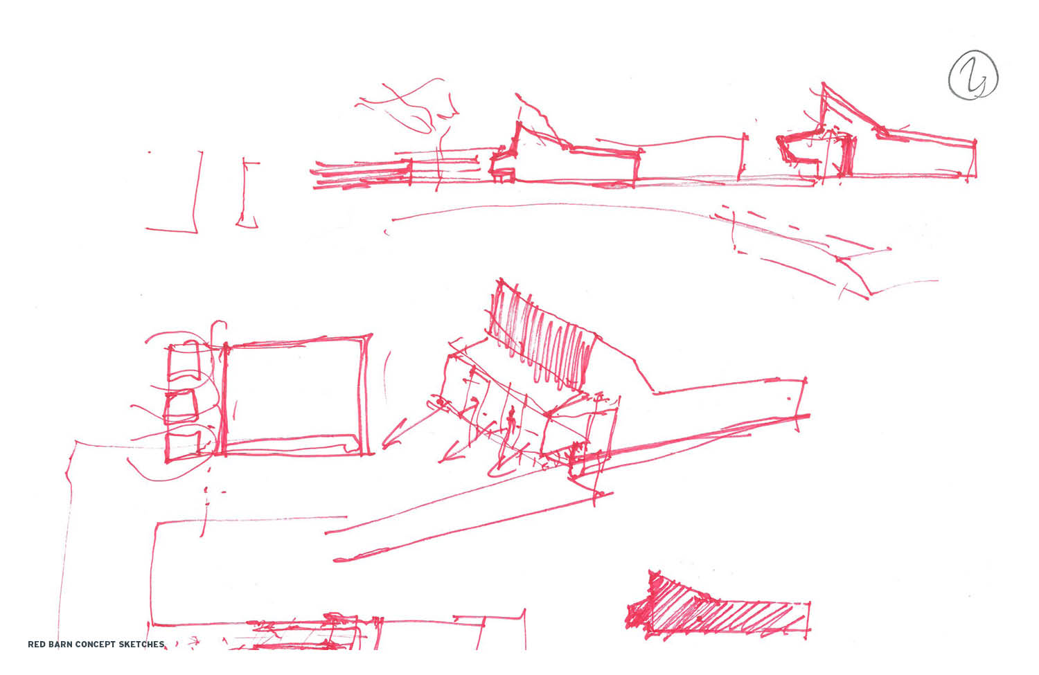 Red Barn Concept Sketches Marlon Blackwell Architects}
