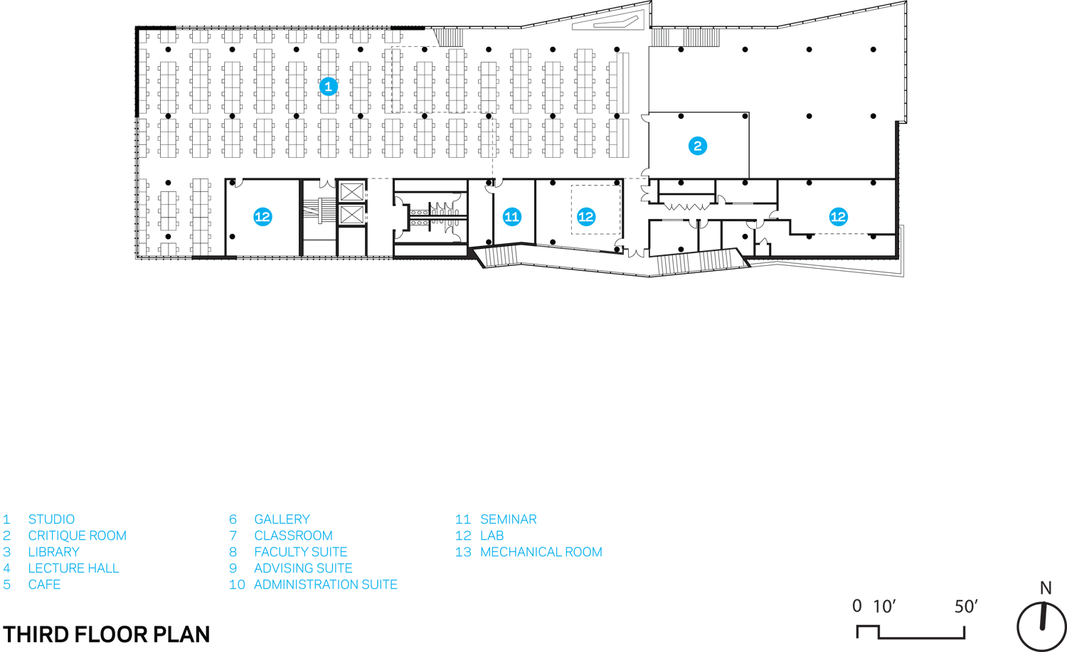 THIRD FLOOR PLAN Courtesy of WEISS/MANFREDI}