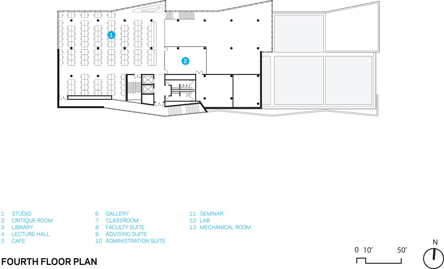 FOURTH FLOOR PLAN Courtesy of WEISS/MANFREDI}