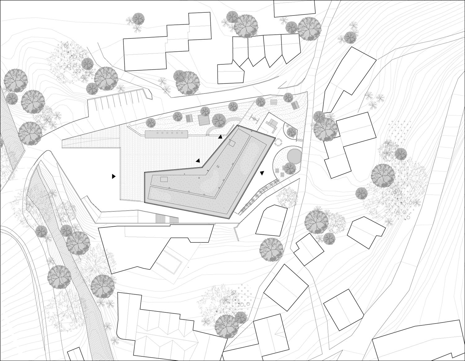 St.Andrea Complex School, siteplan 1:500 MoDusArchitects}