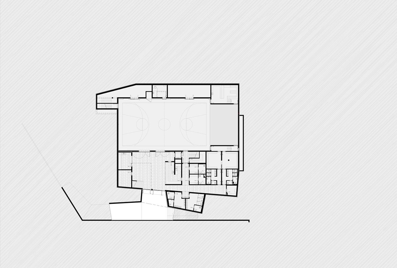 Underground floor plan: Multiuse room MoDusArchitects}