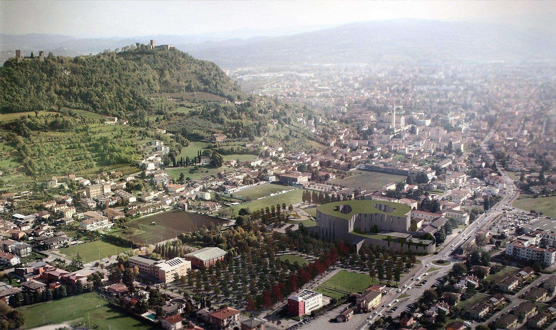 Render della struttura ospedaliera e sullo sfondo i Castelli di Giulietta e Romeo LFA