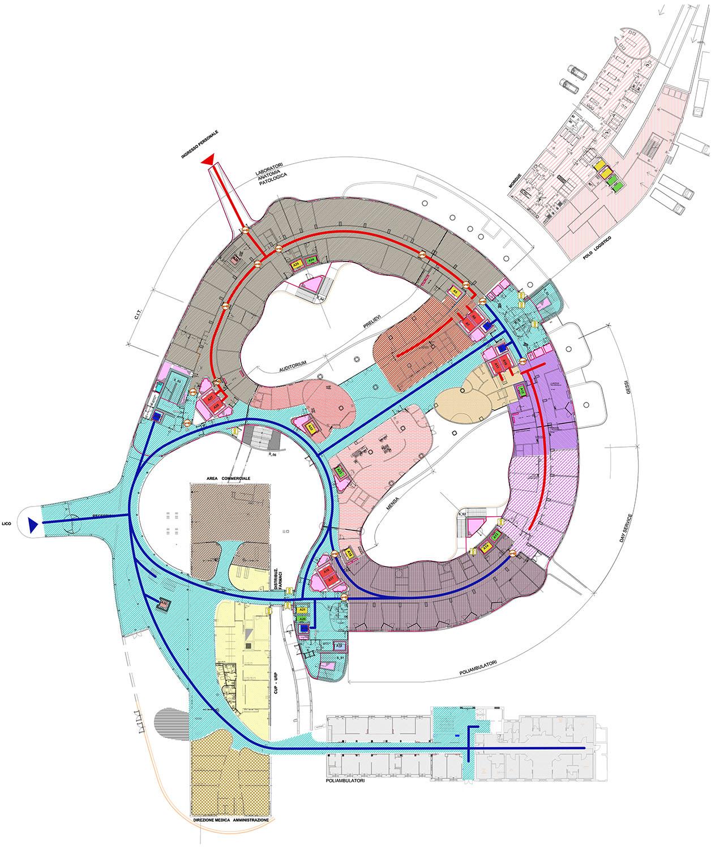 Schema delle aree assistenziali e dei flussi al piano terra LFA}