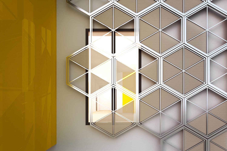 Dettaglio della facciata a telaio meccanizzato con tende 3ndy Studio