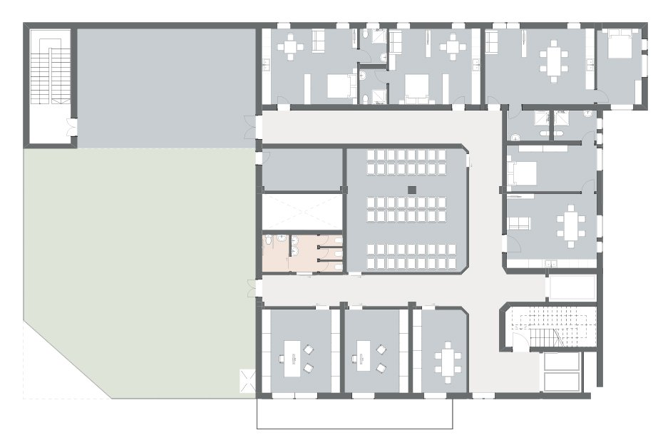 Area conferenze, giardino fisioterapico e appartamenti - Piano 6 3ndy Studio}