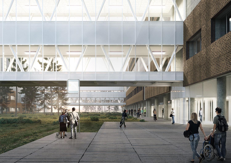 Vista passerella di collegamento tra gli edifici DP03-DP04 ATIproject