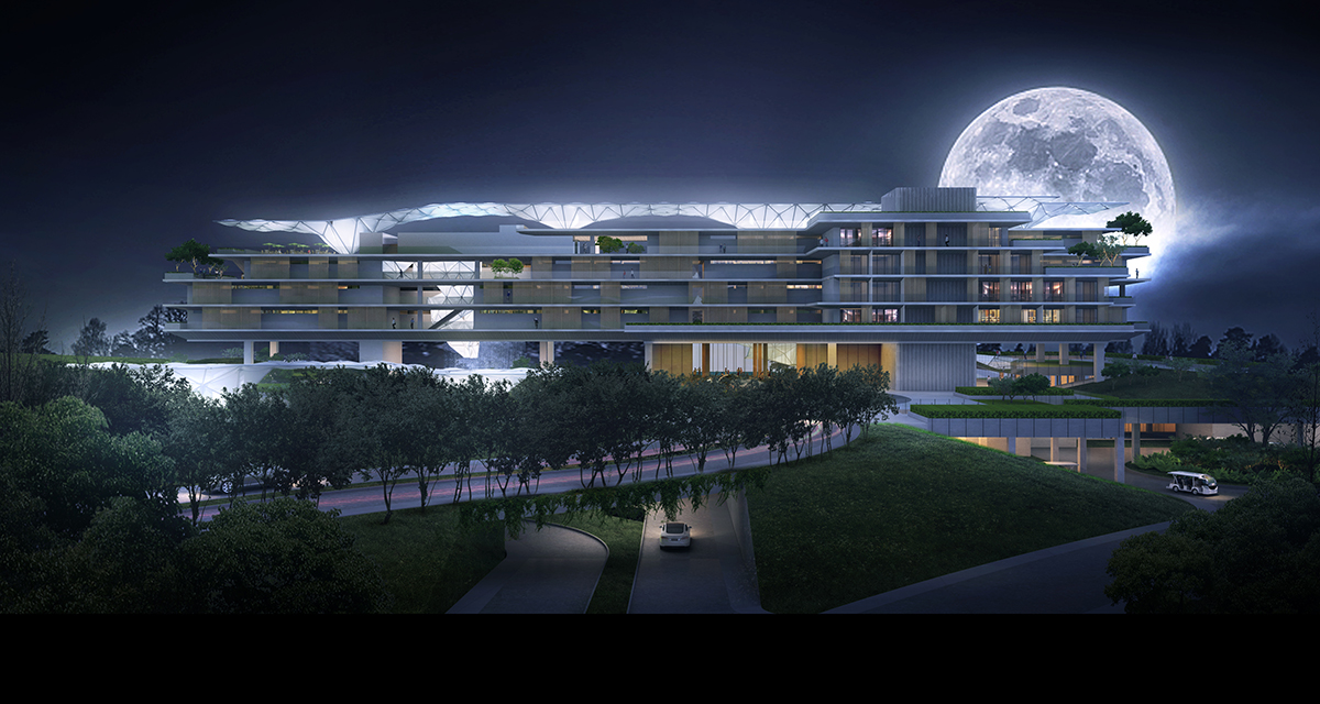 The night view with the 'Cloud' canopies from the top down to the ground level Studio A+