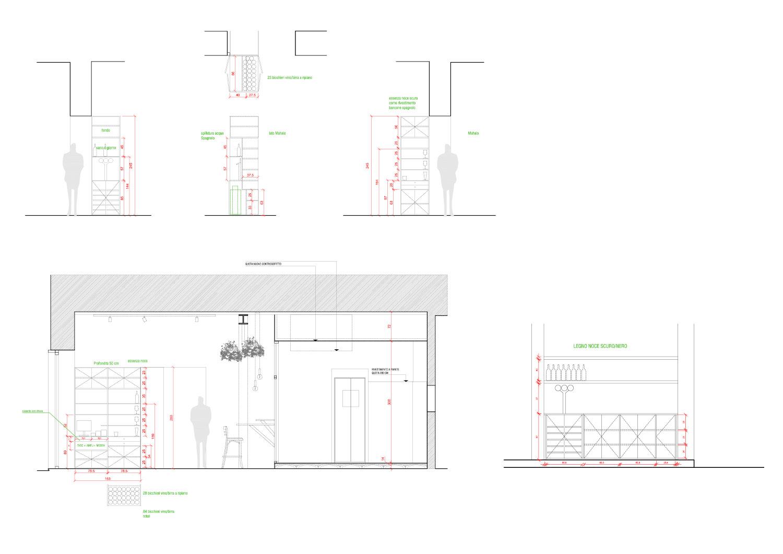 Disegni costruttivi dei mobili omino di Malandros Bodega de Tapas RM\Architecture}