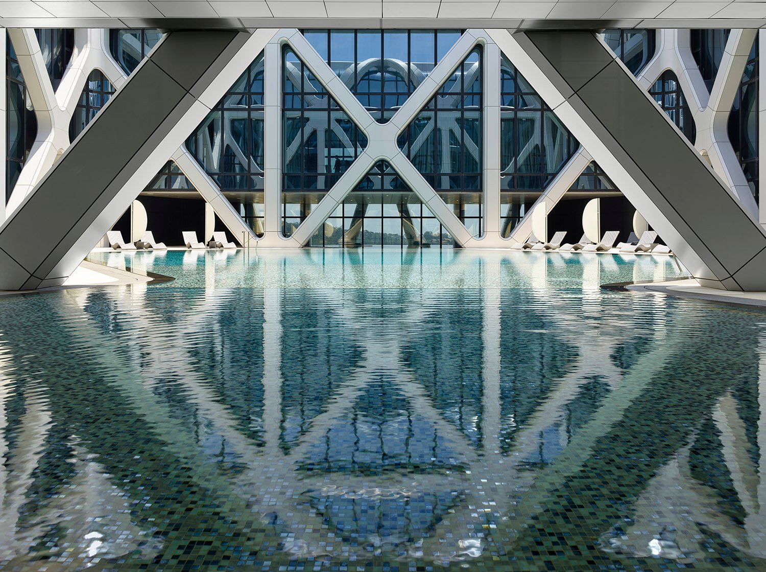 View of pool on level 40 Photograph by Virgile Simon Bertrand