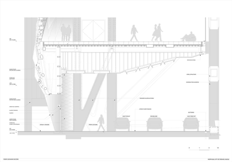 Porte Cochere Section Zaha Hadid Architects}