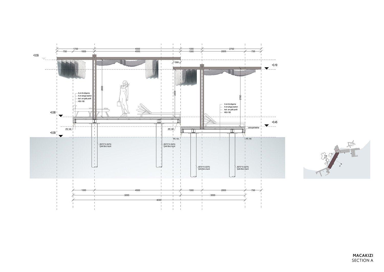 MACA KIZI HOTEL BEACH FACILITIES -  DETAIL SECTION TABANLIOGLU ARCHITECTS}