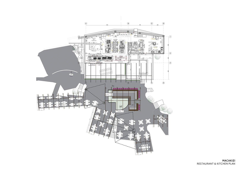 MACA KIZI HOTEL BEACH FACILITIES -  RESTAURANT AND KITCHEN PLAN TABANLIOGLU ARCHITECTS}