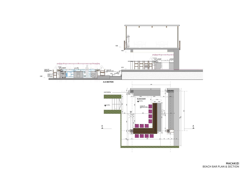MACA KIZI HOTEL BEACH FACILITIES -  BEACH BAR PARTIAL PLAN AND SECTIONS TABANLIOGLU ARCHITECTS}