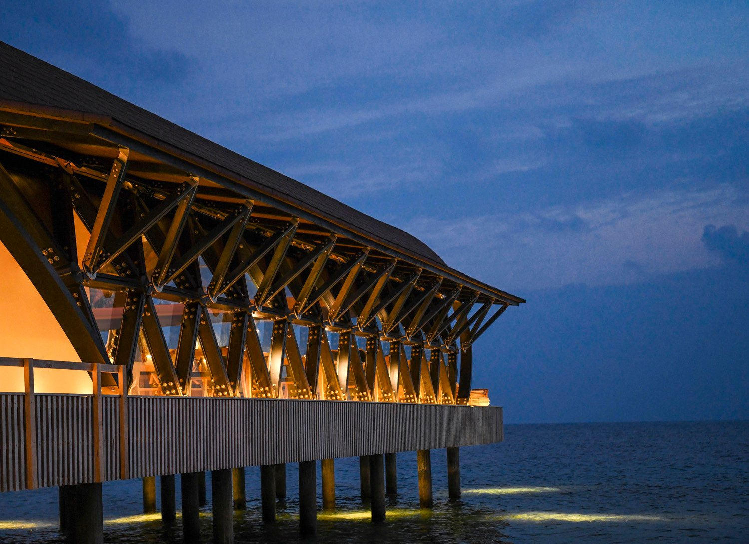 'The pearl' restaurant exterior at night The Westin Maldives