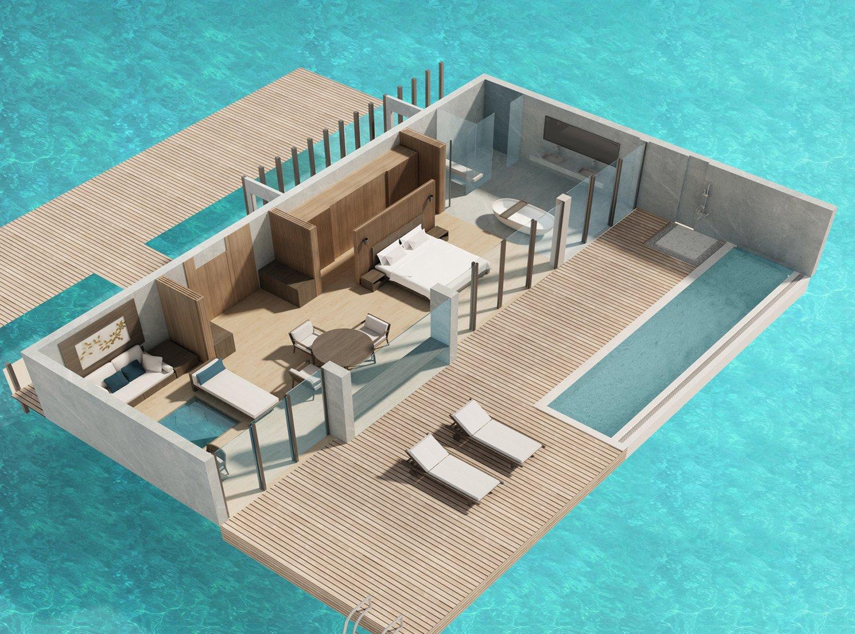 Overwater villa interior The Westin Maldives}