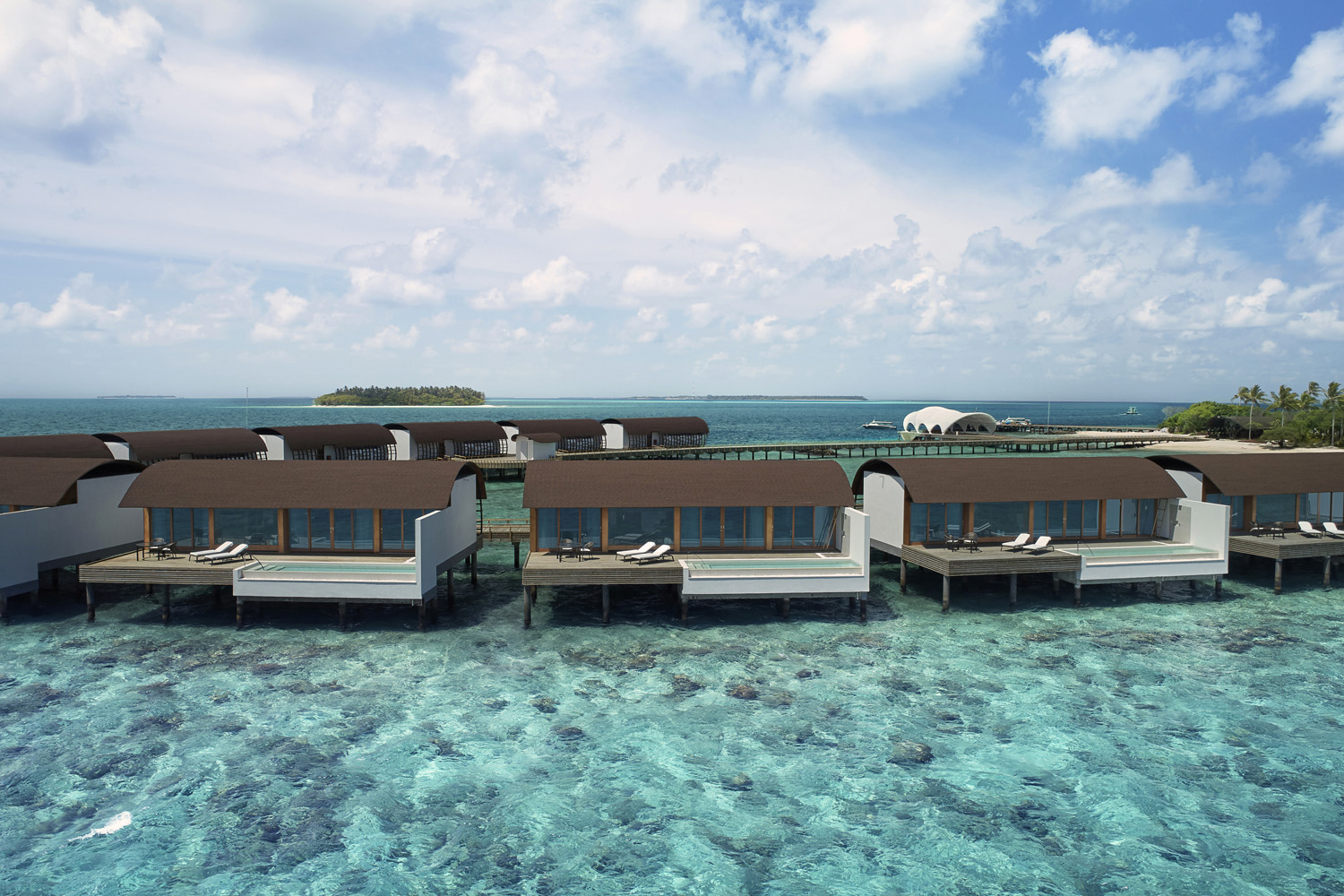 Aerial view overwater units The Westin Maldives