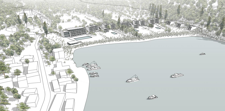 Aerial view of Bigova Artist Retreat & Hotel from North West mcadam architects