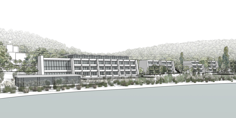 View of Bigova Artist Retreat & Hotel from Bigova village across the bay mcadam architects