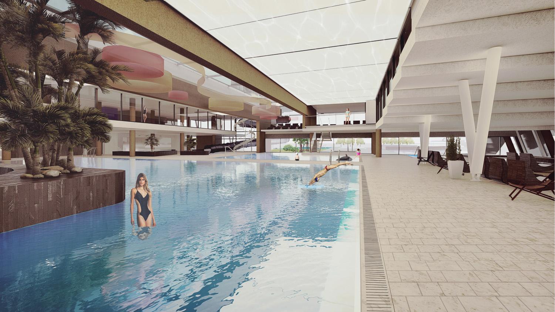 Vista piscina interna Dejaco+Partner