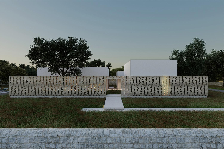 """Prospetto sud con vista di entrambi i """"recinti"""" Arch. Salvatore Terranova"""
