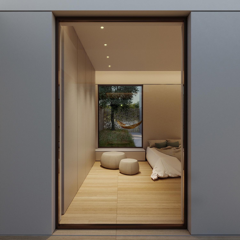 vista della camera da letto singola e corte dedicata Arch. Salvatore Terranova