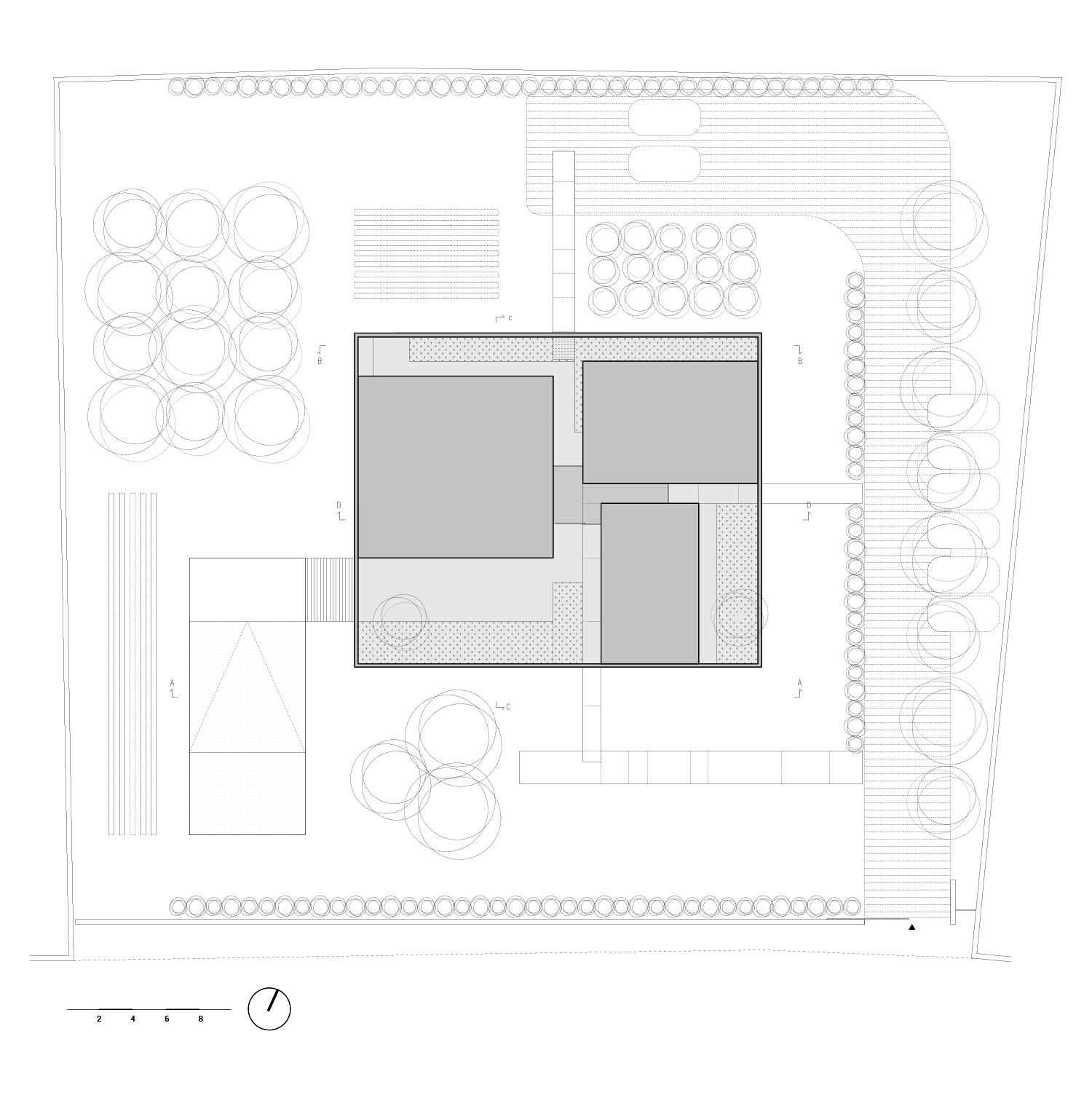 planimetria di copertura e sistemazione esterna Arch. Salvatore Terranova_ Ing. Giorgia Testa}