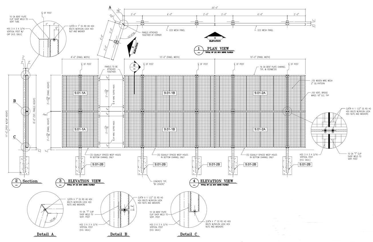 Eco-Mesh Fence at Front Door Nichols Design Associates, Inc.}