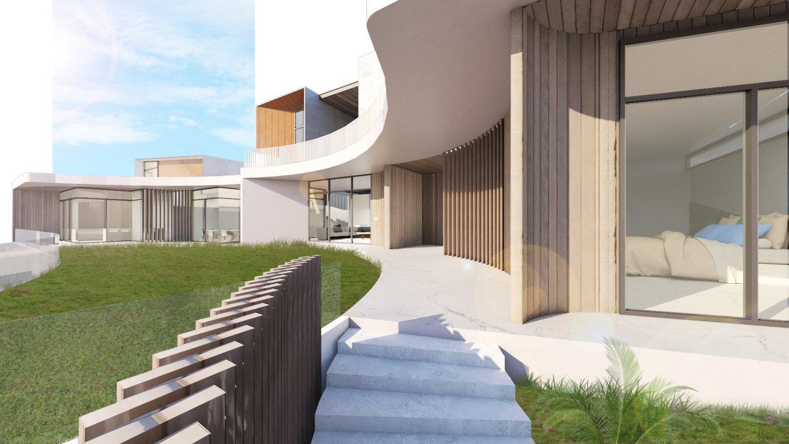 View towards main entrance Zubu Design Associates}