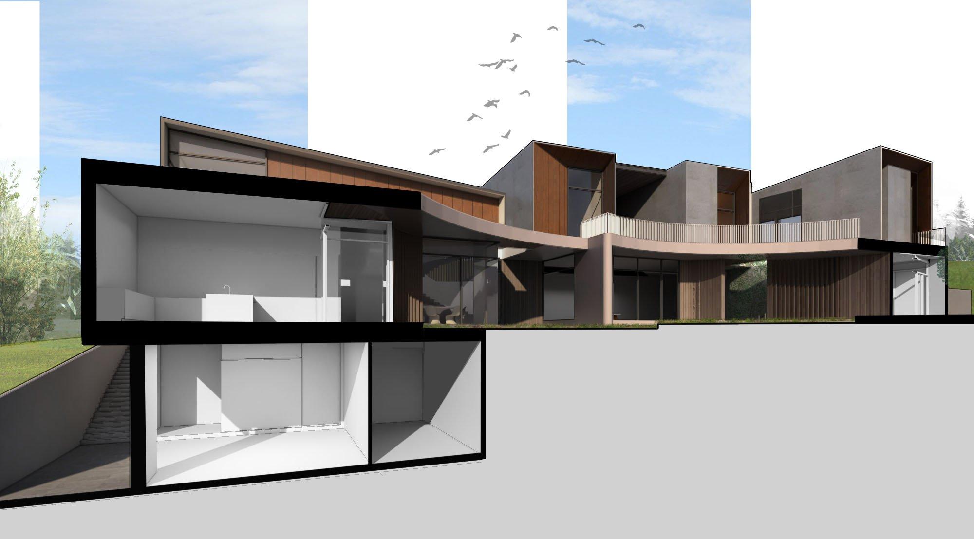 Sectional Perspective B-B Zubu Design Associates}