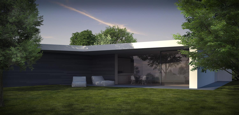 Vista dal giardino della zona giorno, unità 4 - singola. 3ndy Studio