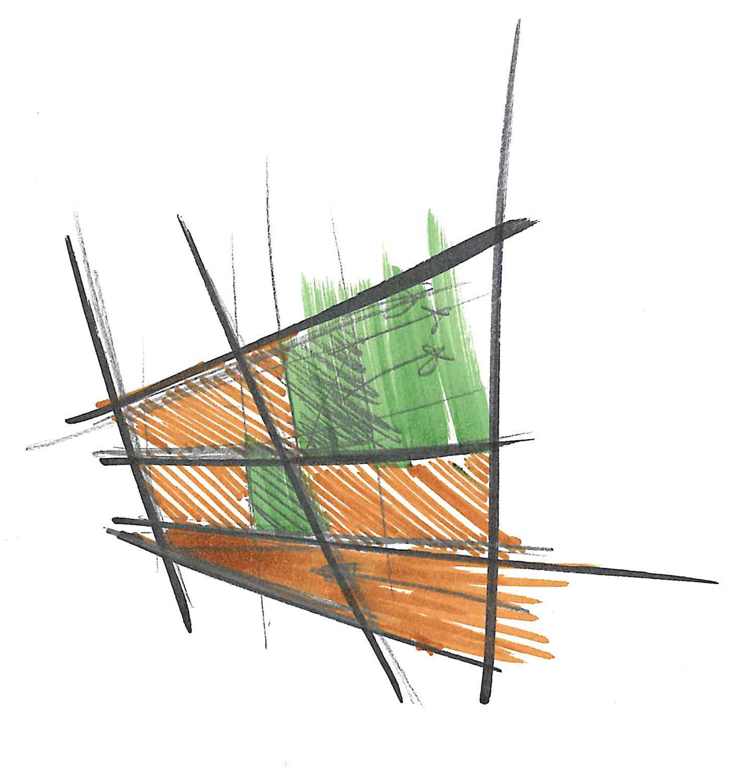 Concept di progetto: direttrici e scomposizione degli spazi 3ndy Studio}