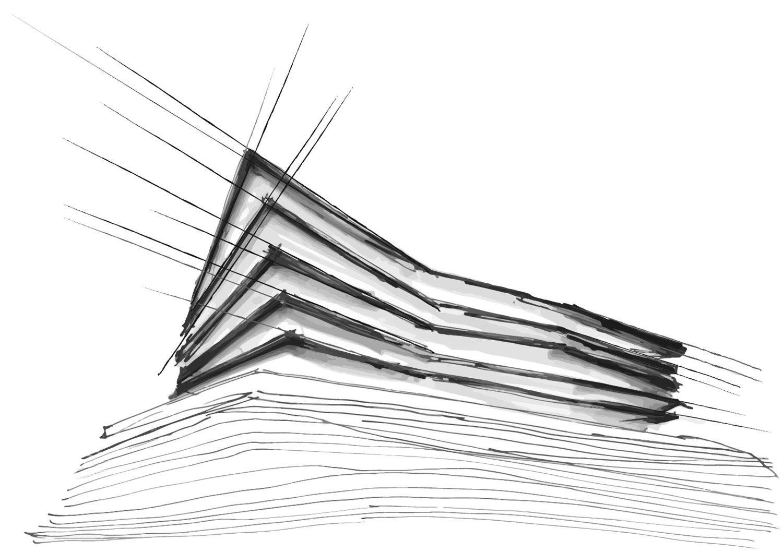 Schizzo di progetto - curve di livello e estrusione verticale volume Mino Caggiula Architects}