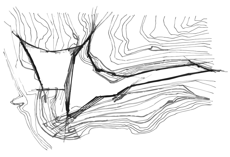 Schizzo di progetto - allineamento alle curve di livello ed alle esposizioni cartesiane Mino Caggiula Architects}