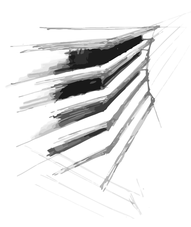 Schizzo di progetto - elevazione dei piani fuori terra Mino Caggiula Architects}