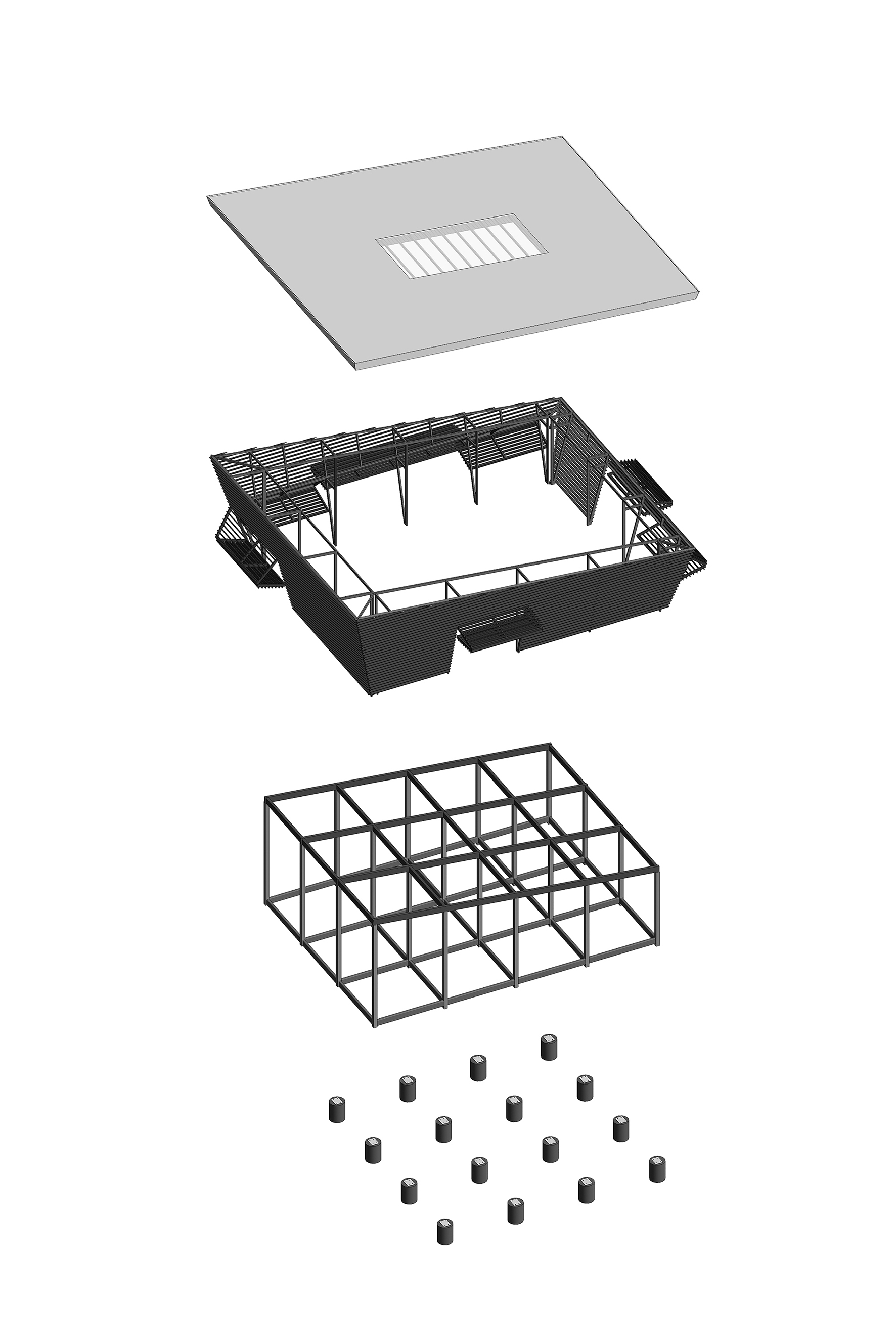 First axonometric drawing of prefabricated main build components. A-01}