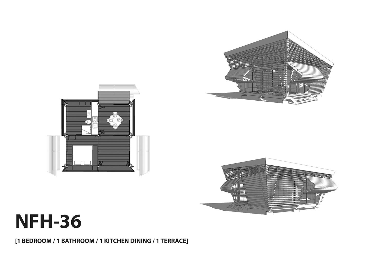 NFH-36 typology (1 bedroom / 1 bathroom / 1 kitchen / 1 terrace). A-01}