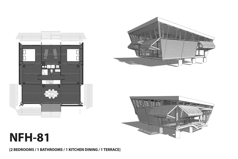 NFH-81 typology (2 bedrooms / 1 kitchen / 1 bathroom / 2 terraces). A-01}